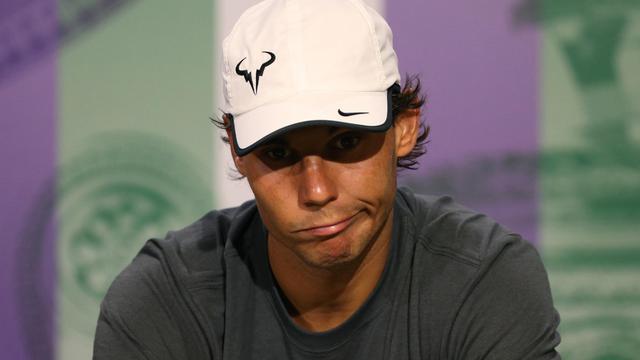 Rafael Nadal lors d'une conférence de presse après avoir perdu contre l'Australien Nick Kyrgios à Wimbledon le 1r juillet 2014 [Scott Heavey / POOL / AELTC/AFP]