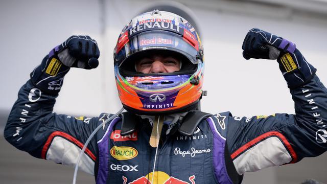 Daniel Ricciardo, le pilote australien de l'écurie Red Bull, fête sa victoire au Grand Prix de Hongrie le 27 juillet 2014 à Budapest [ / AFP/Archives]