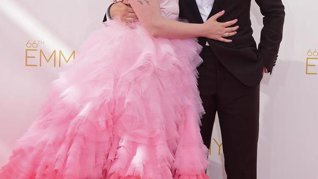 Lena Dunham et Jack Antonoff, à leur arrivée le 25 août 2014 aux 66e Emmy Awards à Los Angeles [Frederic J. Brown / AFP]