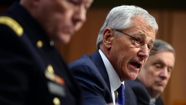 Le secrétaire américain à la Défense Chuck Hagel (c) à Washington le 5 mars 2014 [Jewel Samad / AFP/Archives]