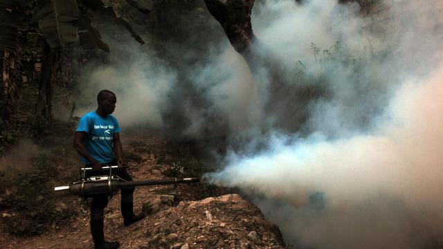 Un employé du ministère de la Santé tente d'exterminer les moustiques, porteurs de chikungunya, dengue et malaria  à Port-au-Prince à Haiti le 21 mai 2014 [Hector Retamal / AFP/Archives]