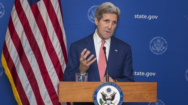 Le secrétaire d'Etat américain John Kerry, le Er août 2014 à New Delhi [Lucas Jackson / Pool/AFP]