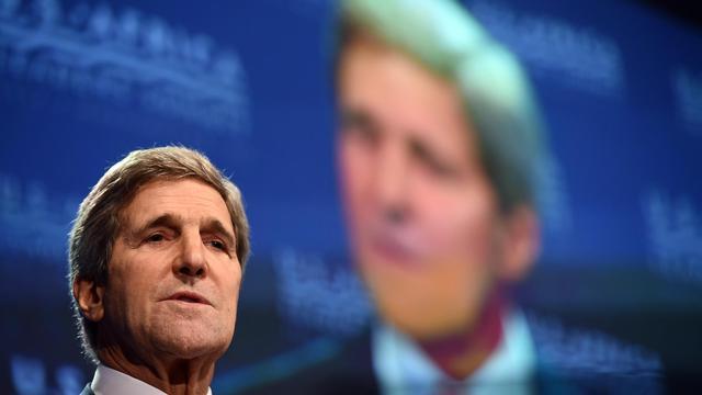 Le secrétaire d'Etat américain John Kerry s'exprime en marge du sommet Etats-Unis-Afrique, le 4 août 2014 à Washington D.C. [Jewel Samad / AFP]