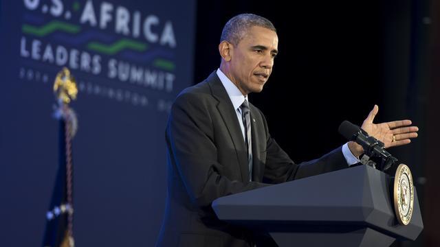Le président Barack Obama, le 6 août 2014 lors d'une conférence de presse à Washington à l'issue d'un sommet Etats-Unis- Afrique [SAUL LOEB / AFP]