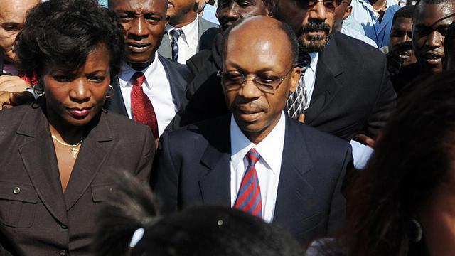 Photo d'archives de l'ex-président d'Haiti Jean-Bertrand Aristide à Port-au-Prince le 18 mars 2011. Il a été convoqué à se présenter mercredi pour son implication présumée dans une affaire de blanchiment de de trafic de drogue [Thony Belizaire / AFP/Archives]