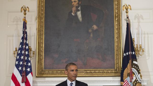 Le président Barack Obama devant un portrait d'Abraham Lincoln s'exprime au sujet de l'Irak à la Maison Blanche, le 7 aout 2014 [Saul Loeb / AFP]