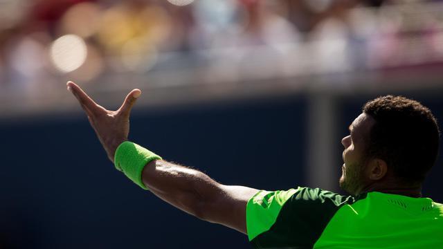 Jo-Wilfried Tsonga lors de la finale de Toronto contre Roger Federer le 10 août 2014  [Geoff Robins / AFP]