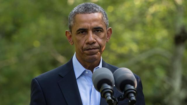 Le président américain Barack Obama livre un discours sur la situation en Irak, à Martha's Vineyard, dans le Massachusetts, le 11 août 2014 [Nicholas Kamm / AFP]