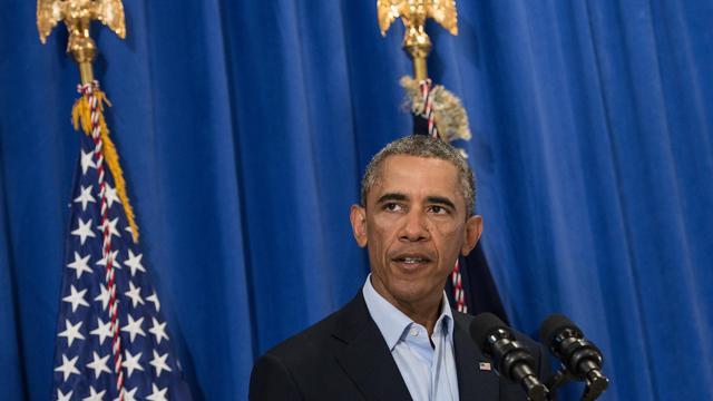 Barack Obama le 20 aout 2014 à Martha Vineyard's lors d'une déclaration sur l'Irak [Nicholas Kamm / AFP/Archives]