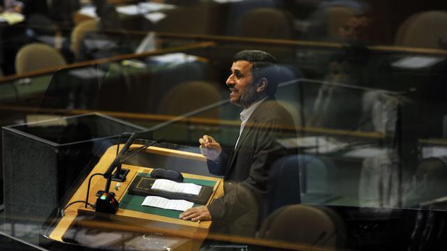 Le président iranien Mahmoud Ahmadinejad à devant l'assemblée générale de l'ONU, le 26 septembre 2012 [Timothy A. Clary / AFP]