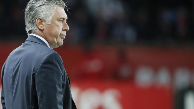 L'entraîneur du PSG Carlo Ancelotti,  le 18 mai 2013 au Parc des Princes lors du match face à Brestµ. [Kenzo Tribouillard / AFP/Archives]