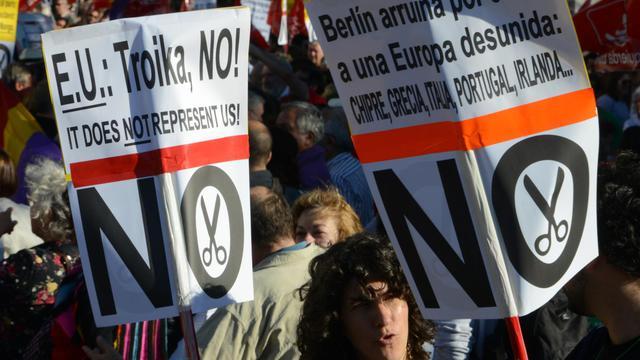 Des Espagnols manifestent contre l'austérité à Madrid, le 1er juin 2013 [Dominique Faget / AFP]