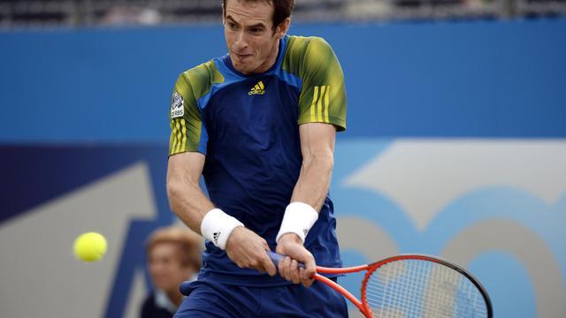 Le Britannique Andy Murray lors de sa demi-finale du Queen's, le 15 mai 2013 [Adrian Dennis / AFP]