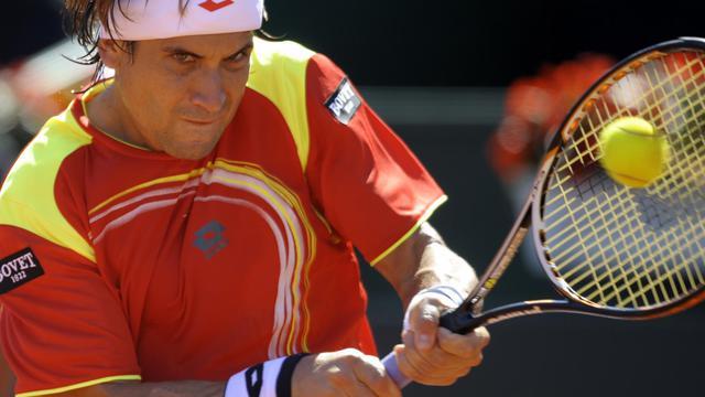 L'Espagnol David Ferrer, lors de son match contre l'Américain Sam Querrey, en demi-finale de Coupe Davis, le 14 septembre 2012 à Gijon (Espagne). [Miguel Riopa / AFP]