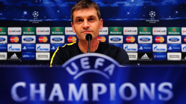 L'entraîneur du FC Barcelone Tito Vilanova, le 18 septembre 2012 en conférence de presse au Camp Nou. [Lluis Gene / AFP]