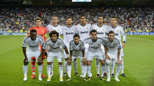 Les joueurs du Real avant leur match de Ligue des champions face à City, le 18 septembre 2012 à Madrid. [Pierre-Philippe Marcou / AFP/Archives]