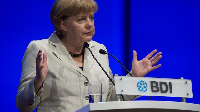 La chancelière Angela Merkel lors du congrès de la fédération allemande de l'industrie (BDI), le 25 septembre 2012 à Berlin [John Macdougall / AFP]