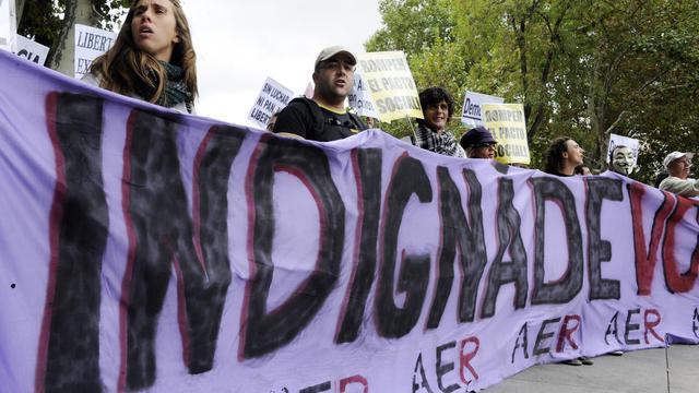 """Les """"indignés"""" espagnols manifestent à Madrid le 25 septembre 2012 [Dominique Faget / AFP]"""