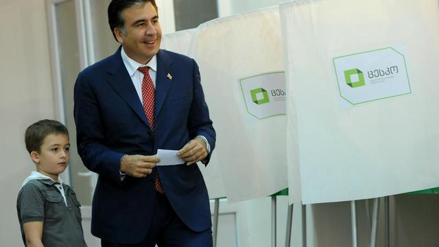 Le président georgien Mikheïl Saakachvili, le 1er octobre 2012. [Vano Shlamov / AFP]