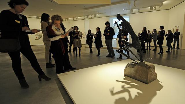"""""""La Mante"""" de Germaine Richier, une oeuvre  présentée au musée Guggenheim de Bilbao dans le cadre de l'exposition """"L'art en guerre. France. 1938-1947: de Picasso à Dubuffet"""", le 15 mars 2013 [Rafa Rivas / AFP]"""