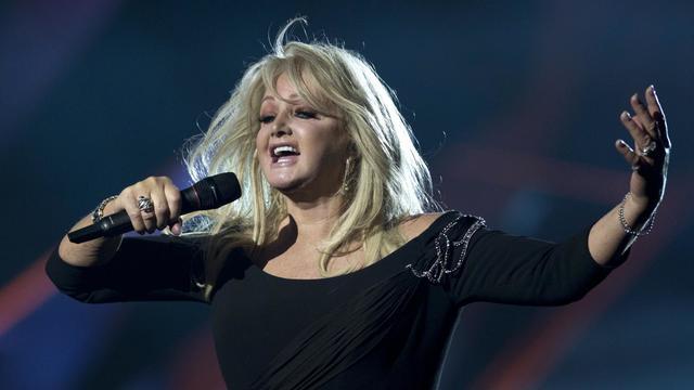 La star britannique Bonnie Tyler lors d'une répétition avant le concours de l'Eurovision, à Malmö, en Suède, le 17 mai 2013 [John Macdougall / AFP]