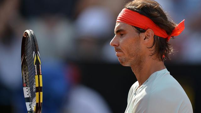L'Espagnol Rafael Nadal en demi-finale contre Tomas Berdych le 18 mai 2013 à Rome [Gabriel Bouys / AFP]
