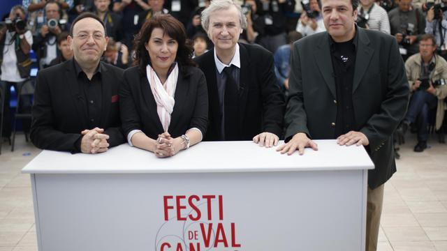 Les caricaturistes Kichka (Israël), Willis (Tunisie), Plantu et Dilem (Algérie), le 20  mai 2013 au Festival de Cannes [Loic Venance / AFP]