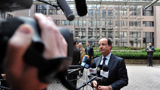 François Hollande arrive à Bruxelles pour le sommet européen, le 22 mai 2013 [Georges Gobet / AFP]