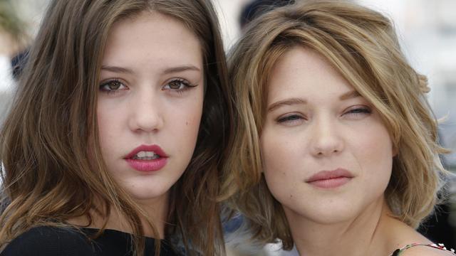 Les actrices de Adèle Exarchopoulos (à gauche) et Léa Seydoux (à droite), le 23 mai 2013 à Cannes [Valery Hache / AFP]
