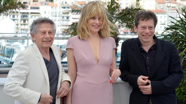 Roman Polanski, Emmanuelle Seigner et Mathieu Amalric le 25 mai 2013 à Cannes [Alberto Pizzoli / AFP]