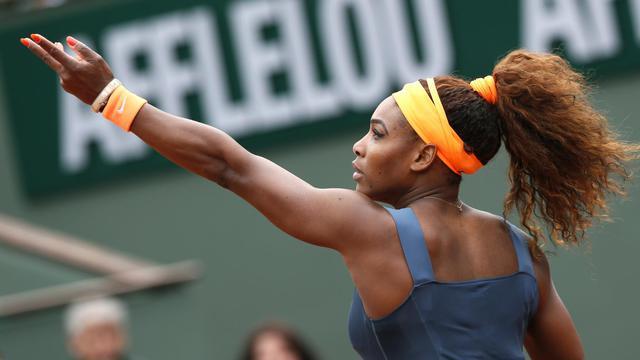 L'Américaine Serena Williams lors de son match contre la Géorgienne Anna Tatishvili, le 26 mai à Paris [Patrick Kovarik / AFP]