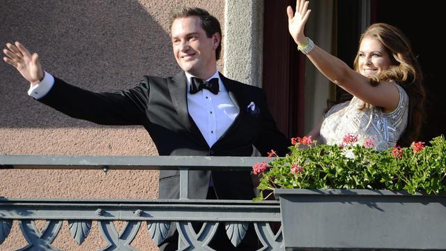Christopher O'Neill et la princesseMadeleine le 7 juin 2013 à Stockholm [Bertil Enevag Ericson / AFP]