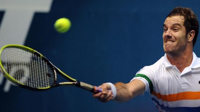 Le Français Richard Gasquet au cours de sa demi-finale du tournoi de Bangkok face à l'Australien Bernard Tomic, le 28 septembre 2012. [Pornchai Kittiwongsakul / AFP]