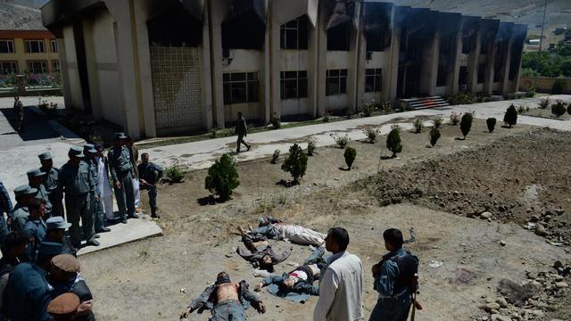 Le siège du gouverneur du Panchir dans la ville de Bazark, le 29 mai 2013, attaqué par des talibans dont six ont été tués [Shah Marai / AFP]