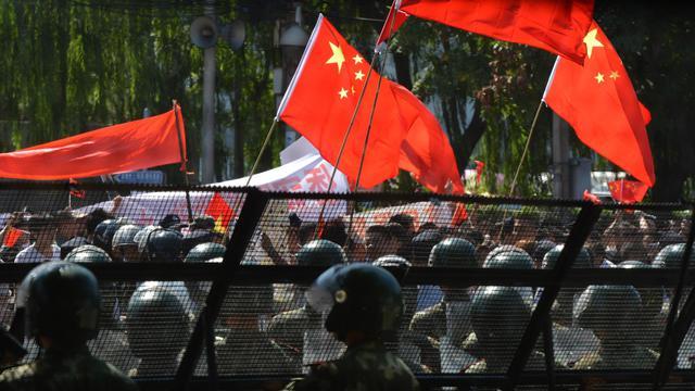 Manifestation anti-japonaise le 18 septembre 2012 à Pékin [Mark Ralston / AFP]