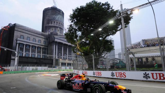 L'Allemand Sebastian Vettel (Red Bull-Renault) lors de la première séance d'essais libres du GP de Singapour, le 21 septembre 2012. [Roslan Rahman / AFP]