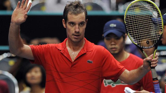 Le Français Richard Gasquet, qualifié pour la finale du tournoi de Bangkok, après sa victoire contre le Finlandais Jarkko Nieminen, 29 septembre 2012. [Pornchai Kittiwongsakul / AFP]