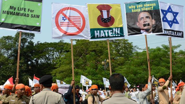 Manifestation à Jakarta lancée à l'appel du parti islamique PKS contre le film islamophobe américain, le 30 septembre 2012 [Adek Berry / AFP]