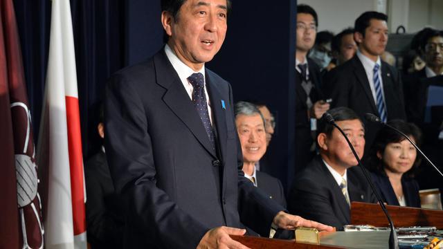 Le leader du parti libéral démocrate japonais Shinzo Abe le 25 décembre 2012 à Tokyo [Yoshikazu Tsuno / AFP]
