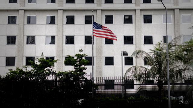 Photographie du 10 juin 2013 prise au consulat américain de Hong Kong [Philippe Lopez / AFP]
