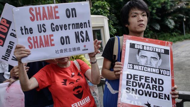 Manifestation de soutien à Edward Snowden devant le consulat américain à Hong Kong, le 13 juin 2013