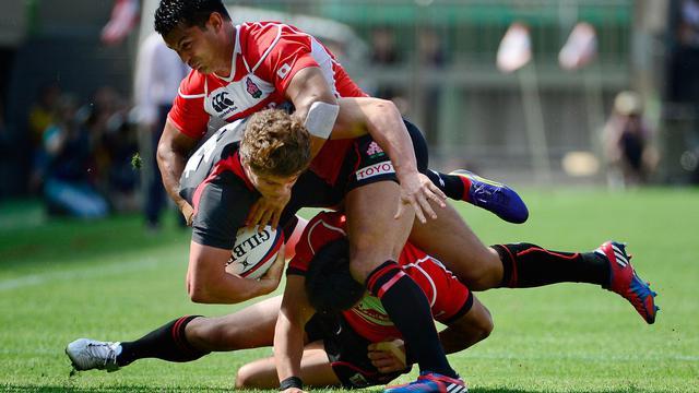 Le Japonais Craig Wing (au dessus) lors du test-match contre le pays de Galles le 15 juin 2013 à Tokyo [Toru Yamanaka / AFP]