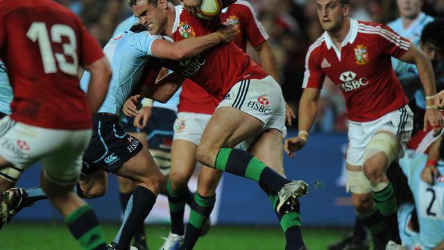 Jamie Roberts des Lions britanniques et irlandais lors du match contre les New South Wales Waratahs le 15 juin 2013 à Sydney [Greg Wood / AFP]