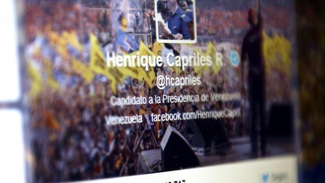Le compte Twitter de l'opposant vénézuélien Henrique Capriles, le 20 mai 2013 à Caracas [Leo Ramirez / AFP]