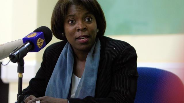 """La Directrice exécutive du Programme alimentaire mondial des Nations Unies (PAM), Ertharin Cousin, en visite lundi à Khartoum, a estimé qu'il n'était pas """"trop tard"""" pour apporter de l'aide aux populations des deux Etats frontaliers du Soudan du Sud secoués par la guerre.[AFP]"""