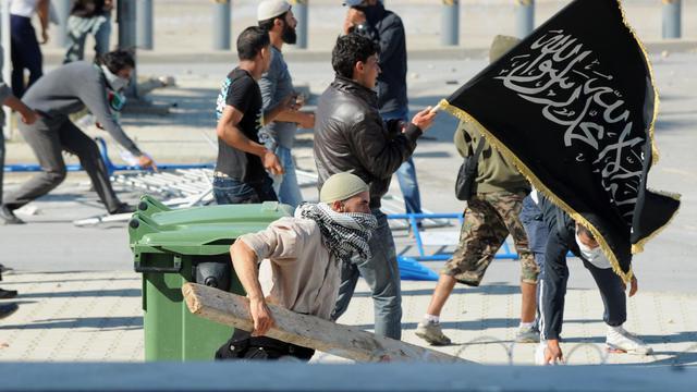 Manifestation de Tunisiens le 14 septembre 2012 près de l'ambassade américaine à Tunis [Fethi Belaid / AFP]