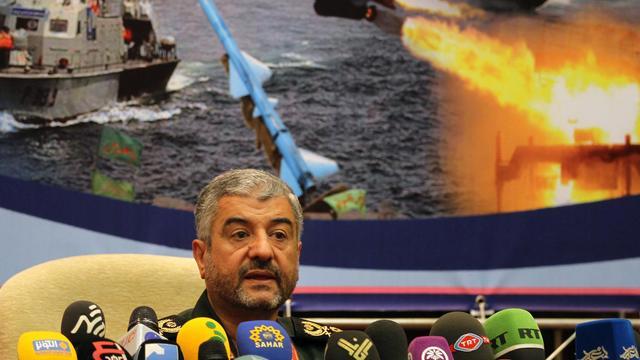 Conférence de presse du général Mohammad Ali Jafari, commandant en chef des Gardiens de la révolution, le 16 septembre 2012 à Téhéran [Atta Kenare / AFP]