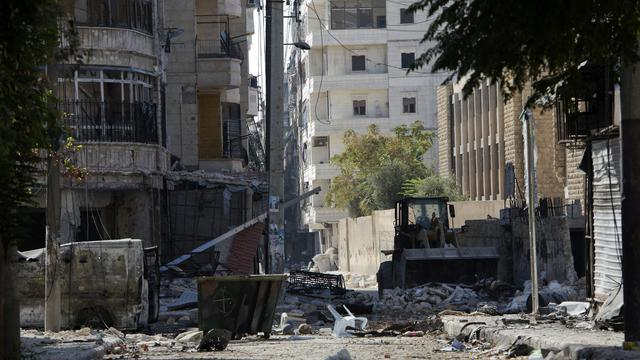 Destructions dans les rues d'Alep le 28 septembre 2012 [Miguel Medina / AFP]