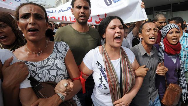 Des diplômés tunisiens au chômage manifestent à Tunis le 29 septembre 2012 [Fethi Belaid / AFP]