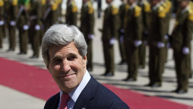 Le secrétaire d'Etat John Kerry arrive au siège de l'Autorité palestinienne à Ramallah, le 21 mars 2013 [Saul Loeb / AFP/Archives]
